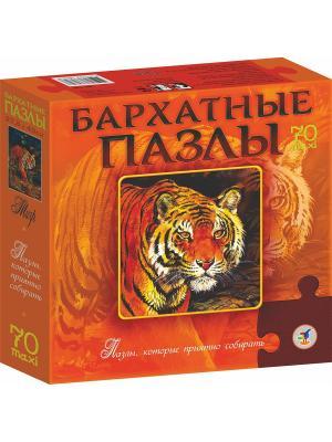 Бархатные пазлы. Тигр (новинка) / черный бархат Дрофа-Медиа. Цвет: оранжевый