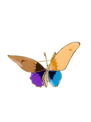 Брошь Bijoux Land. Цвет: золотистый, коричневый, голубой, фиолетовый, бежевый
