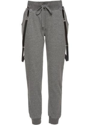 Спортивные брюки на подтяжках (темно-серый меланж) bonprix. Цвет: темно-серый меланж