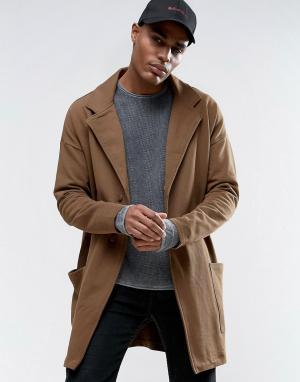 ASOS Супердлинное легкое трикотажное оversize-пальто цвета хаки. Цвет: зеленый