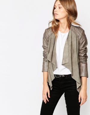 Muubaa Байкерская куртка с драпировкой Lupus. Цвет: серый