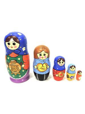 Матрешка Загорская с самоваром 5 кукольная Taowa. Цвет: синий, красный