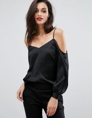 Lipsy Блузка с длинными рукавами. Цвет: черный
