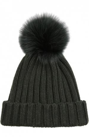 Вязаная шапка с меховым помпоном Nima. Цвет: хаки