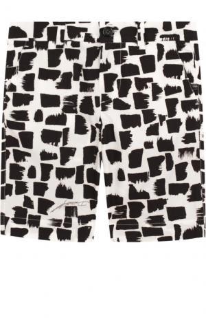 Хлопковые шорты с принтом Dolce & Gabbana. Цвет: черно-белый