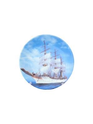 Тарелка декоративная Корабль Elan Gallery. Цвет: белый, голубой