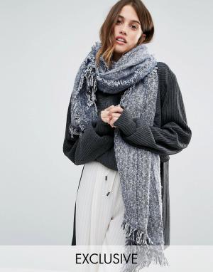 Stitch & Pieces Однотонный длинный шарф с необработанными краями. Цвет: серый