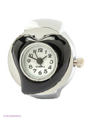Часы-кольцо Heart (черные) Kawaii Factory. Цвет: белый, черный