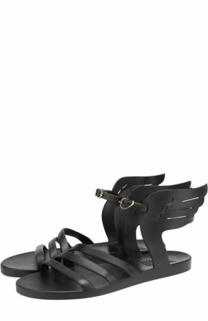 Резиновые сандалии Ikaria с декором Ancient Greek Sandals. Цвет: черный