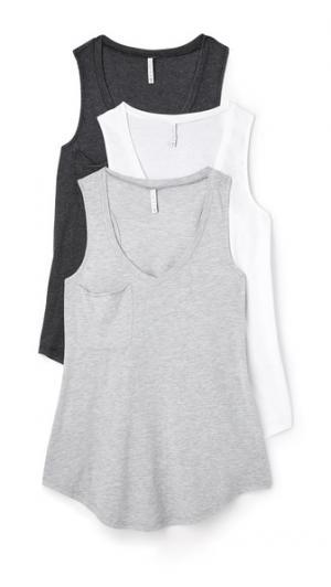 Набор из трех маек со спиной борцовкой и карманом Z Supply. Цвет: черный/белый/серый