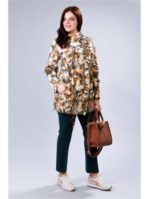 Куртка MILORI. Цвет: зеленый, коралловый