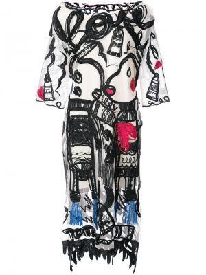 Платье шифт с вышивкой Tsumori Chisato. Цвет: белый