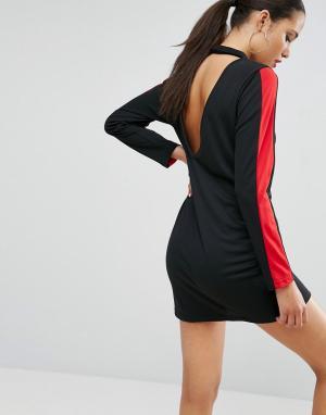 ASOS Цельнокройное платье в спортивном стиле с открытой спиной. Цвет: черный