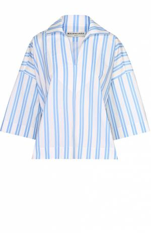 Топ свободного кроя в контрастную полоску с отложным воротником Balenciaga. Цвет: голубой