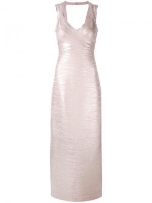 Вечернее платье с V-образным вырезом Hervé Léger. Цвет: розовый и фиолетовый
