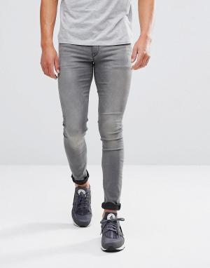 ASOS Серые выбеленные джинсы скинни. Цвет: серый