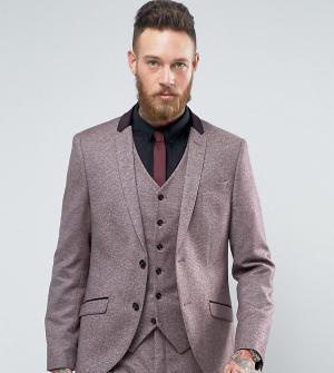 Heart & Dagger Приталенный твидовый пиджак с бархатной отделкой. Цвет: красный