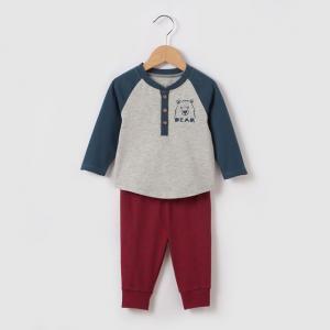 Комплект из футболки и леггинсов, 1 мес. - 3 года R édition. Цвет: серый + бордовый + темно-синий