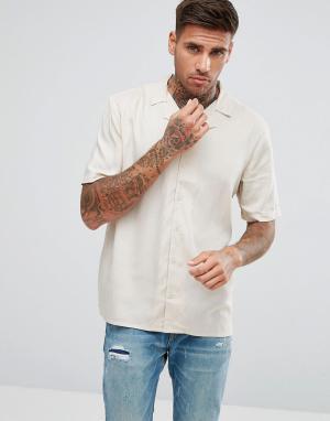 Another Influence Однотонная рубашка с отложным воротником и короткими рукавами. Цвет: светло-бежевый