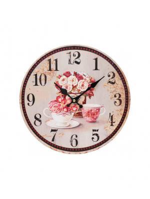 Часы настенные Розы, диаметр 34 см (130-CL ) Белоснежка. Цвет: бледно-розовый, кремовый, сиреневый