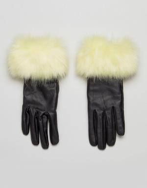 Urbancode Кожаные перчатки с меховой отделкой. Цвет: черный