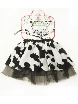 Костюм карнавальный 3 пр., юбка 2 слоя, 27см, полиэстер, 4 дизайна, 2+, арт.80071 СНОУБУМ. Цвет: белый