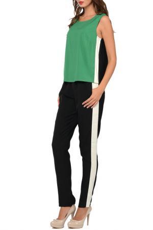 Костюм: топ, брюки SEVENTY. Цвет: зеленый, черный