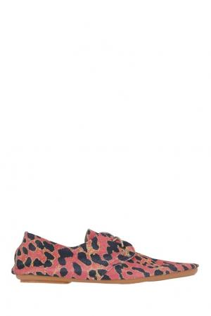 Мокасины с леопардовым принтом Anniel. Цвет: розовый