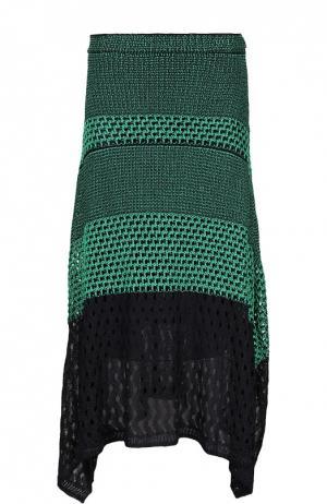 Асимметричная вязаная юбка с боковыми разрезами Proenza Schouler. Цвет: зеленый