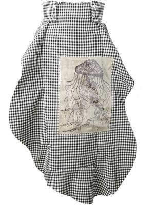 Асимметричная юбка в клетку A.W.A.K.E.. Цвет: чёрный