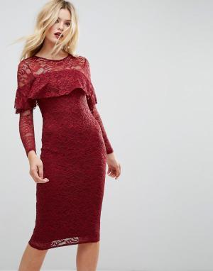 ASOS Кружевное платье-футляр миди с длинными рукавами и оборкой. Цвет: красный