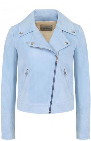 Укороченная замшевая куртка с косой молнией Yves Salomon. Цвет: голубой