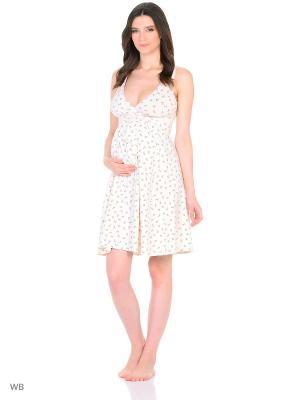 Сорочка женская для беременных и кормящих Hunny Mammy. Цвет: молочный, розовый