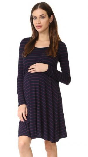Платье-трапеция для беременных с длинными рукавами Ingrid & Isabel. Цвет: темно-синий/сливовый