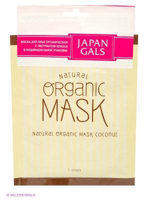 Japan Gals Маска для лица органическая с экстрактом кокоса 1 шт. Цвет: белый