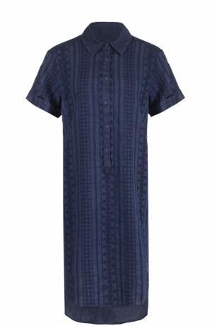 Платье-рубашка с удлиненной спинкой и вышивкой 120% Lino. Цвет: темно-синий
