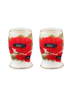 Набор из двух вазочек под зубочистки Маки Elan Gallery. Цвет: белый, красный
