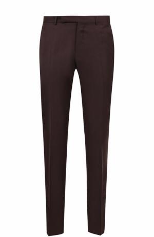 Шерстяные брюки прямого кроя Ermenegildo Zegna. Цвет: бордовый