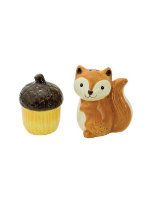 Набор: солонка и перечница Woodland Friends Squirrel BOSTON. Цвет: коричневый, рыжий