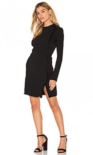 Платье с длинным рукавом и отделкой бахромой IKKS Paris. Цвет: черный