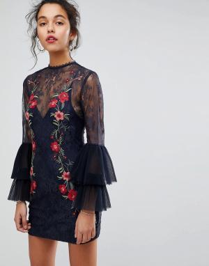 Keepsake Кружевное платье мини с вышивкой. Цвет: темно-синий