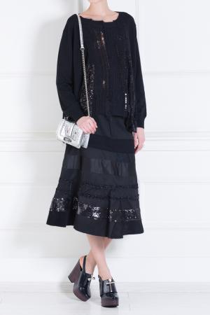 Шерстяная юбка Junya Watanabe. Цвет: черный