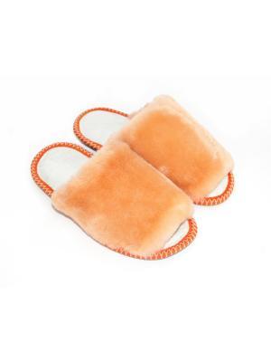 Тапочки из натурального меха и кожи Тефия. Цвет: рыжий