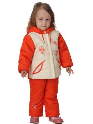 Комплект с полукомбинезоном Мила OVAS. Цвет: оранжевый, кремовый