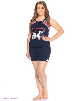 Комплект домашней одежды ( майка, шорты) HomeLike. Цвет: темно-синий, красный