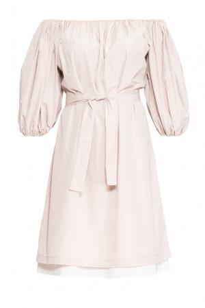 Платье из хлопка с поясом 136807 Villa Turgenev. Цвет: бежевый