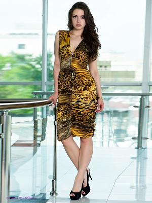 Платье МадаМ Т. Цвет: коричневый, оранжевый, желтый, черный