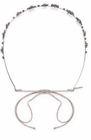 Повязка для волос с кристаллами Swarovski Jennifer Behr. Цвет: черный