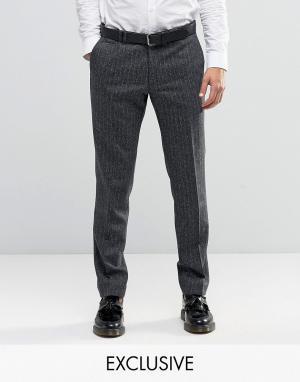 Noak Супероблегающие строгие брюки из ткани в елочку. Цвет: серый