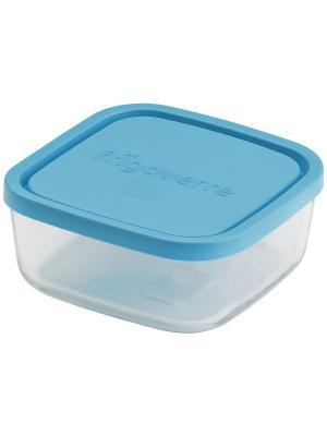 Контейнера стеклянные B388910-1  Bormioli Rocco Стеклянный контейнер Frigoverre квадратный 22*22 см,. Цвет: синий